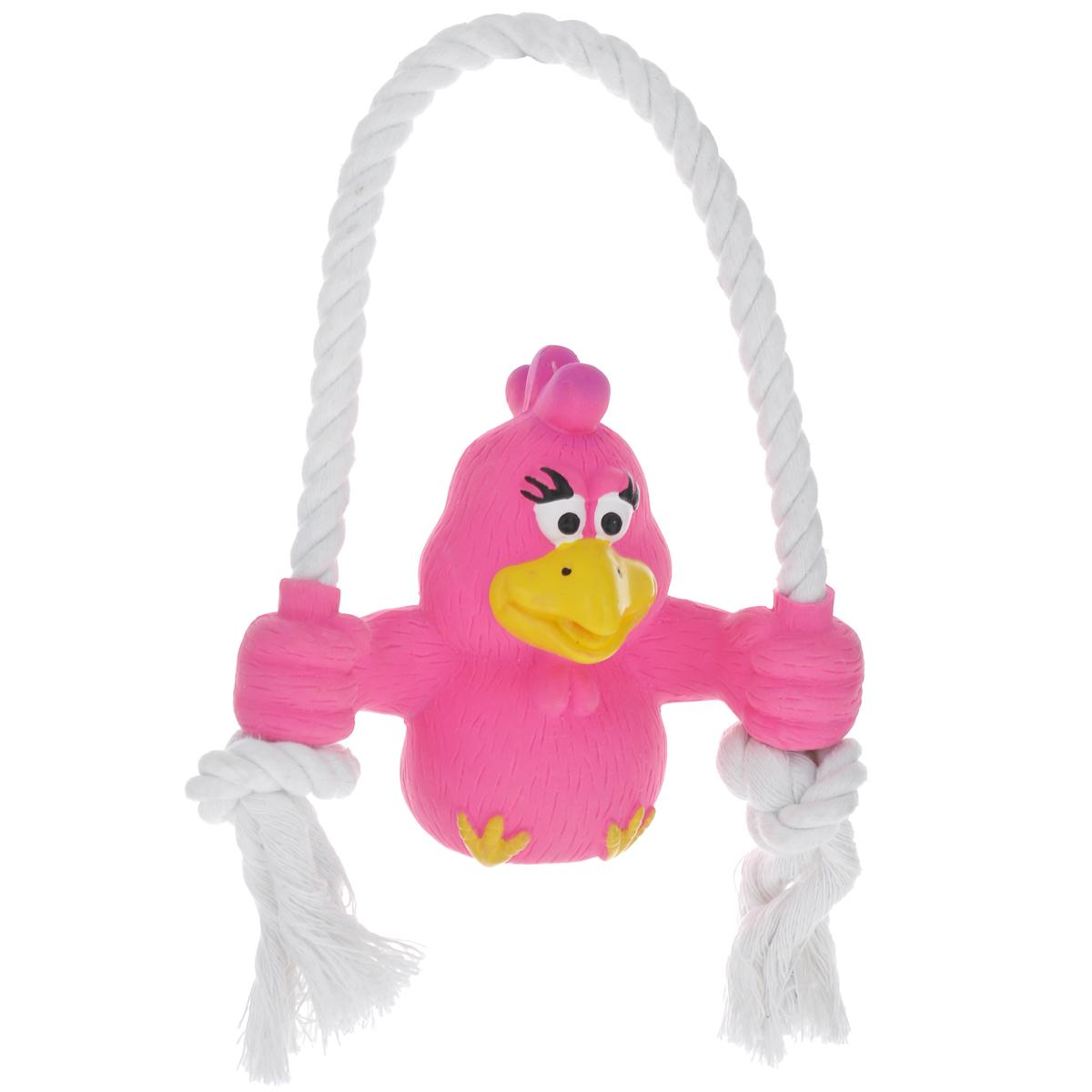 Игрушка для собак Ziver Цыпленок на качелях, с пищалкой, цвет: розовый, высота 20 см игрушка для собак ziver осел длинноухий с пищалкой цвет голубой 18 см