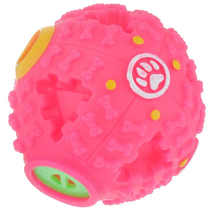 Игрушка для собак Ziver Мяч звуковой, с пищалкой, цвет: розовый, диаметр 7 см игрушка для собак ziver осел длинноухий с пищалкой цвет голубой 18 см