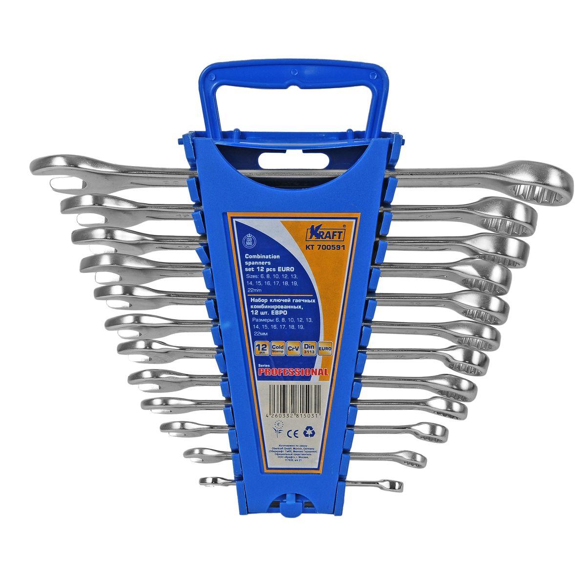 Набор комбинированных гаечных ключей Kraft Professional Euro, 6 мм - 22 мм, 12 штКТ700591Набор комбинированных гаечных ключей Kraft Professional Euro предназначен для профессионального применения в решении сантехнических, строительных и авторемонтных задач, а также для бытового использования. Ключи изготовлены из хромованадиевой стали.Размеры ключей входящих в набор: 6 мм, 8 мм, 10 мм, 12 мм, 13 мм, 14 мм, 15 мм, 16 мм, 17 мм, 18 мм, 19 мм, 22 мм.Комбинированный ключ представляет собой соединение рожкового и накидного гаечных ключей. Обе стороны комбинированного ключа имеют одинаковый размер. Комбинированный ключ - это необходимый предмет в каждом доме.