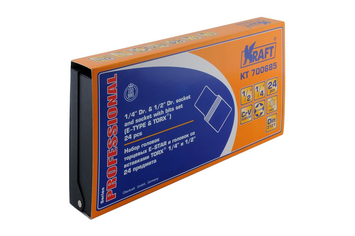 Набор торцевых головок Kraft Professional Е-star, со вставками Torx, 1/2, 1/4, 24 предмета
