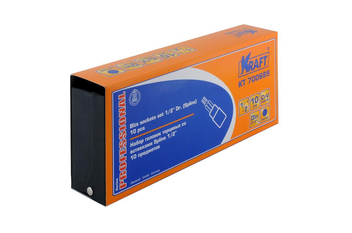 Набор торцевых головок Kraft Professional со вставками Spline, 1/2, 10 штКТ700689В набор Kraft Professional входят торцевые головки со вставками Spline, посадочный размер 1/2. Размеры торцевых головок: М4, М5, М6, М7, М8, М9, М10, М11, М12, М13. Головки выполнены из хром-ванадиевой стали.Торцевые головки Kraft Professional изготовлены из хромованадиевой стали марки 50BV30 со специальным трехслойным покрытием, обеспечивающим долговременную защиту от механических повреждений.