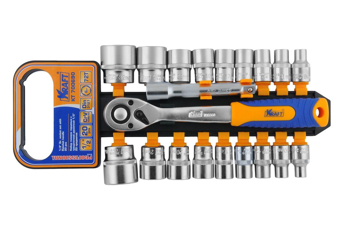 Набор торцевых головок Kraft Professional, с трещоточным ключом, 1/2, 20 предметовКТ700690Набор слесарно-монтажного инструмента Kraft Professional предназначен для работы с резьбовыми соединениями. Торцевые головки имеют шестигранный зев и посадочное место для присоединительного квадрата 1/2. Головка с храповым механизмом устраняет необходимость каждый раз устанавливать ключ на крепежный элемент. Состав набора:шестигранные торцевые головки 1/2: 8 мм, 9 мм, 10 мм, 11 мм, 12 мм, 13 мм, 14 мм, 15 мм, 16 мм, 17 мм, 19 мм, 20 мм, 22 мм, 24 мм 27 мм, 30 мм, 32 мм;рукоятка трещоточная с быстрым сбросом 1/2: 250 мм, 72 зубца;удлинитель 3/8: 125 мм. Торцевые головки Kraft Professional изготовлены из хромованадиевой стали марки 50BV30 со специальным трехслойным покрытием, обеспечивающим долговременную защиту от механических повреждений.