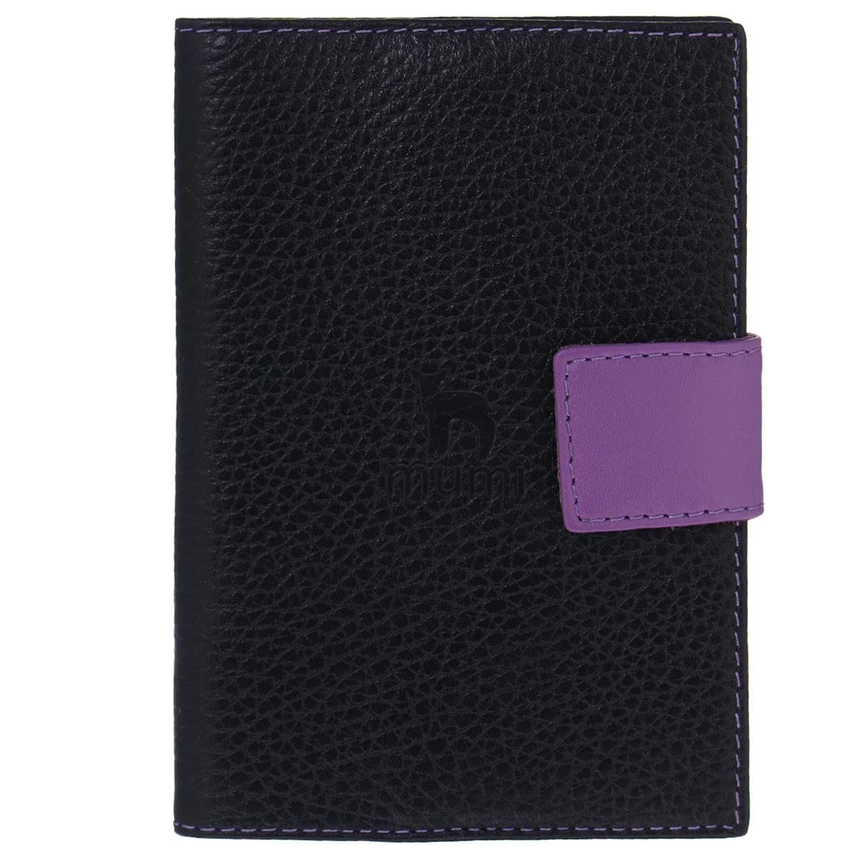 Обложка для паспорта Dimanche Mumi, цвет: черный, фиолетовый. 050Натуральная кожаИзысканная обложка для паспорта Dimanche Mumi изготовлена из высококачественной натуральной кожи и декорирована фактурным тиснением. Изделие закрывается хлястиком на кнопку. Внутри обложка отделана полиэстером и содержит три боковых кармана, которые надежно зафиксируют ваш документ.Изделие упаковано в пластиковый чехол.Модная обложка для паспорта не только поможет сохранить внешний вид вашего документа и защитить его от повреждений, но и станет стильным аксессуаром, который прекрасно дополнит ваш образ.