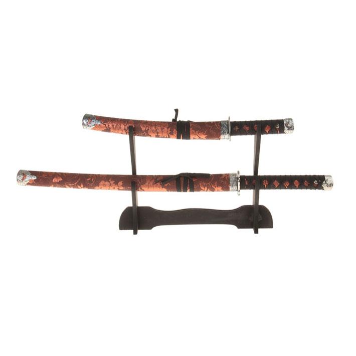 Сувенирное оружие Sima-land Катана, на подставке, цвет: коричневый, 2 шт. 272082 свеча ароматизированная sima land лимон на подставке высота 6 см