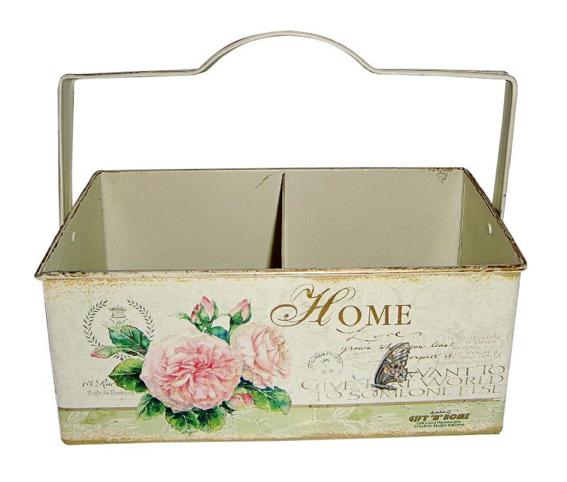 Ящик для хранения GiftnHome Уютный дом, 2 секции, 25 х 14 х 10 смМЯ-14 homeЯщик для хранения GiftnHome Уютный дом - прекрасное решение для декора дома или дачи. Изготовлен из жести и оформлен изысканным цветочным рисунком в винтажном стиле. Декор выполнен в технике декупаж. Содержит 2 секции для хранения различных бытовых принадлежностей, аксессуаров для шитья и других мелочей. Подойдет в качестве кашпо для цветов. Ручка предназначена для комфортной переноски. Изделие предназначено для интерьерного оформления жилого помещения. Оно прекрасно дополнит интерьер и добавит в обычную обстановку нотки романтики и изящества.