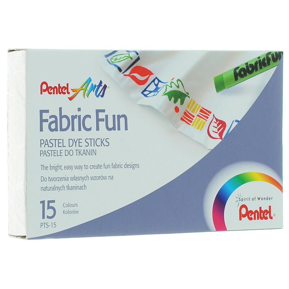Пастель для ткани Pentel Fabric Fun, 15 цветовPTS-15Пастель для ткани Pentel Fabric Fun предназначена для нанесения рисунков на натуральные ткани. Пастель изготовлена из натуральных компонентов и не содержит вредных примесей. Соответствует европейскому стандарту качества EN71, утвержденному для детских товаров. Краски стойкие, не смываются водой. Для удобства использования имеют форму мелков. Этими мелками могут рисовать и дети, и взрослые художники, воплощая любые уникальные идеи в жизнь. С их помощью обычная вещь превратится в неповторимое авторское произведение, будь то сумка, футболка, фартук или даже кеды.Длина мелка: 6 см. Количество цветов: 15.