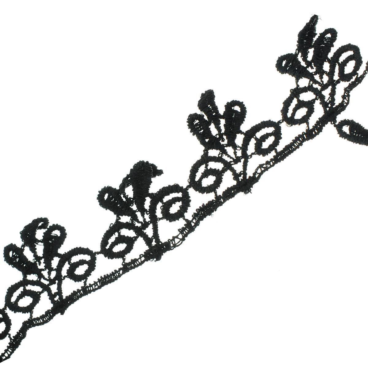 Кружево вязаное Астра, цвет: черный, ширина 3 см, длина 9 м. 77043887704388Кружево Астра, изготовленное из 35% хлопка и 65% полиэстера, предназначено для декорирования. Вязаное кружево часто применяется для завершения таких изделий, как шали, платки, кофточки, салфетки, скатерти, а также для изготовления воротников, манжет, различных отделок. Кружева широко применяются в оформлении интерьера: в виде декоративных панно, скатертей, занавесок, постельного белья (подушки, покрывала), салфеток и подстаканников. Ширина: 3 см.Длина: 9 м.
