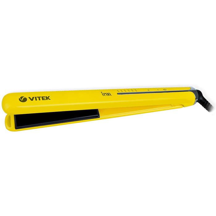 Vitek VT-2312(Y) выпрямитель для волосVT-2312(Y)Добиться идеально гладких волос или создать роскошные локоны вы можете при помощи выпрямителя Vitek VT-2312(Y). В компактном устройстве предусмотрена уникальная технология покрытия Aqua Ceramic - она равномерно распределяет тепло по поверхности нагревательных пластин, предотвращая пересушивание волос. Одновременно с этим формула Aqua Ceramic в сочетании с оптимальной температурой «запечатывает» чешуйки волос, сохраняя таким образом их естественную влагу, красоту и здоровый блеск. Благодаря использованию технологии Floating plates плавно подвижные закрепленные на пружинах пластины обеспечивают равномерное распределение и давление на волосы, предотвращая их заламывание при укладке.Выпрямитель обеспечен удлиненными (110 мм) нагревательными пластинами шириной 25 мм, которые позволяют эффективнее выпрямлять волосы, и гарантируют быструю укладку. Добиться идеального результата в укладке позволяет быстрый нагрев прибора в течение 30 секунд до температуры, выбранной из шести возможных режимов - для жестких волос, для нормальных волнистых волос средней толщины и для тонких волос, чувствительных к высокой температуре. Даже если Вы забыли выключить выпрямитель, он отключится сам через 60 минут благодаря функции автоотключения. Для вашего удобства устройство оснащено LED-дисплеем, который отображает текущую температуру пластин и позволяет упростить настройку устройства под определенный тип волос. Вращающийся резиновый шнур длиной 1,8 м максимально упрощает работу с выпрямителем, а защитный колпак позволит удобно хранить и перемещать устройство.Регулировка температурыИндикация включения и готовности к работе