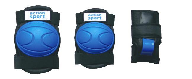 Комплект защиты  Action , для катания на роликах, цвет: синий, черный. Размер M. PW-316 - Защита