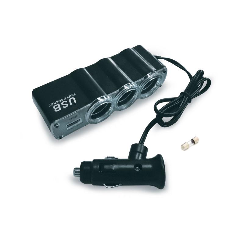 Разветвитель прикуривателя AVS CS314U, со светодиодной подсветкой, 3 выхода + USB, 12/24В43267Разветвитель прикуривателя AVS CS314U увеличивает количество гнезд прикуривателя и рассчитан на подключение нескольких различных электрических приборов, например, автомобильного чайника или термокружки. Выполнен из тугоплавкого пластика. Это устройство незаменимо при выездах на природу, да и просто в поездках по городу. Имеет 3 гнезда прикуривателя и 1 USB-порт.USB-порт: 1000 мА.Мощность: 60 Вт.Максимальный потребляемый ток подключаемых устройств: 5 А.