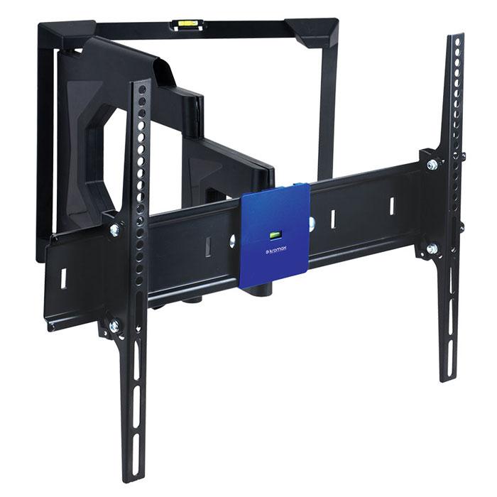 Kromax Ledas-80, Black кронштейн для телевизоров 32-65LEDAS-80Наклонно поворотное крепление Kromax Ledas-80 для LED/LCD телевизоров с диагональю экрана от 32 до 65 дюймов (81-165 см) и максимальным весом 45 кг. Благодаря широкому настенному основанию, данный подвес для телевизора, можно надежно устанавливать на гипсокартонные стены или стены, которые выполненные из пустотелого кирпича, блоков и т.п.Кронштейн имеет два встроенных водяных уровня для точного монтажа, ваш ТВ будет висеть всегда ровно. Стильный эргономичный дизайн позволяет использовать данное крепление в любых помещениях, оно идеально впишется даже в самую изысканную комнату. Ведь все металлические части, скрыты за декоративными накладками.В конструкции кронштейна, предусмотрены специальные скрытые каналы, в которые можно уложить все соединительные кабеля. Легкая регулировка поворота и наклона одним движением руки. Вы в любой момент можете изменить положение экрана, не прибегая к специальным инструментам.