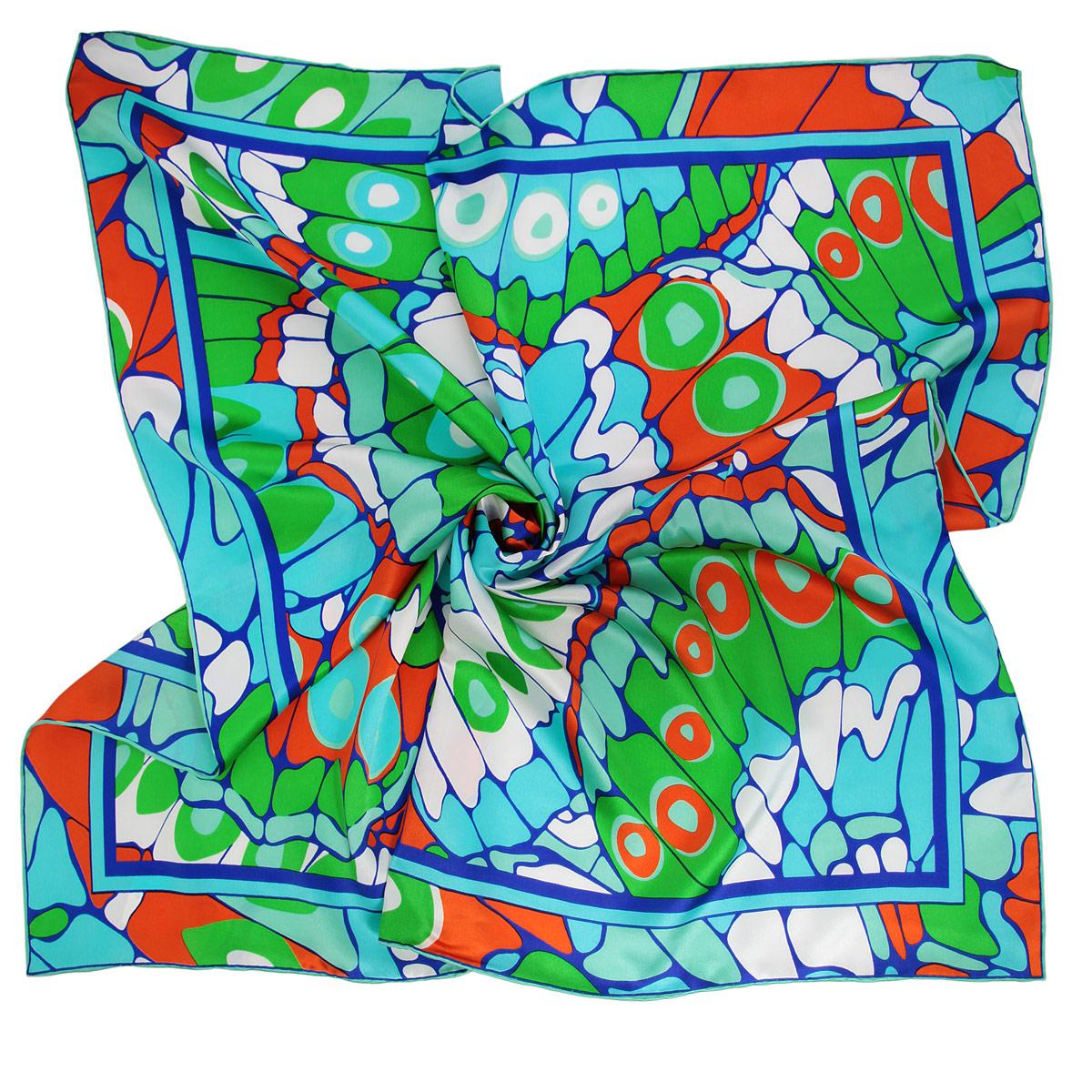 Платок женский Venera, цвет: бирюзовый, зеленый, оранжевый. 1801629-6. Размер 90 см х 90 см1801629-6 ПлатокОчаровательный платок Venera подчеркнет ваш неповторимый образ. Изделие выполнено из натурального шелка и оформлено ярким орнаментом. Края платка обработаны вручную. Этот модный аксессуар женского гардероба гармонично дополнит образ современной женщины, следящей за своим имиджем и стремящейся всегда оставаться стильной и элегантной.