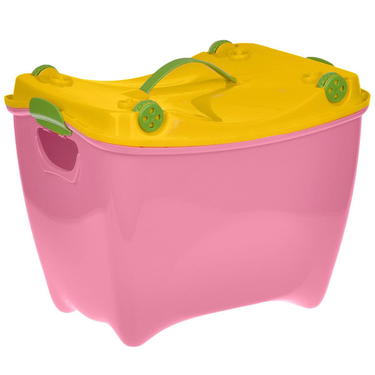 Ящик детский Супер-Пупер, цвет: розовыйМ 2599 розДетский вместительный ящик Супер-Пупер, выполненный из яркого полипропилена, позволит выгодно организовать пространство детской комнаты. Его можно использовать в качестве ящика для хранения, табурета, вагончика, колыбельки для кукол и чемодана.Ящик закрывается крышкой, дополненной четырьмя колесиками, благодаря чему ребенок сможет его перевозить, поставив на крышку и толкая ящик перед собой. Крышка оснащена ручкой для переноски.Ящик детский Супер-Пупер прекрасно впишется в интерьер любой детской комнаты.