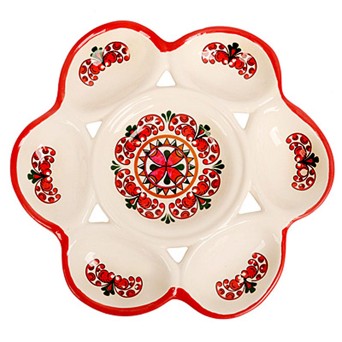 Подставка под яйца Home Queen Элегантная, цвет: белый, красный, 6 ячеек подставка под яйца home queen цвет желтый оранжевый 2 ячейки