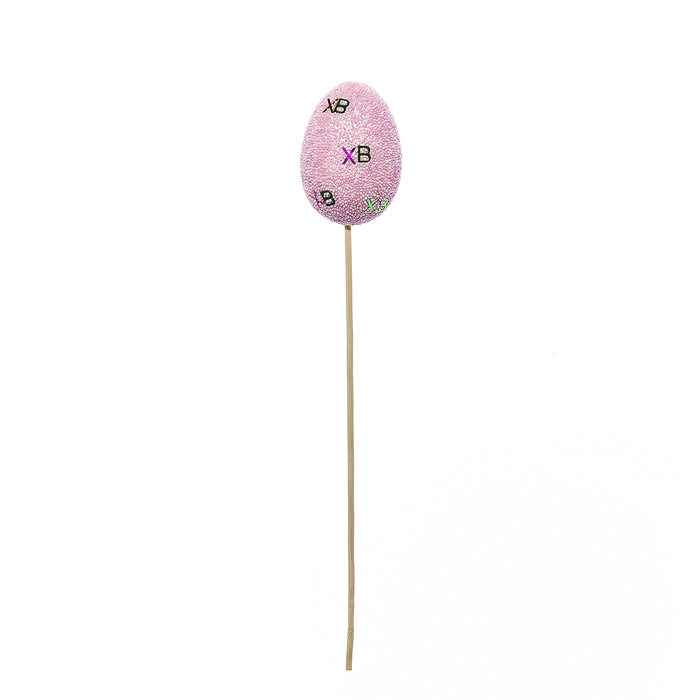 Набор пасхальных украшений на ножке Home Queen Узоры, цвет: розовый, высота 30 см, 2 шт подставка под яйца home queen курочка с узором 2 ячейки