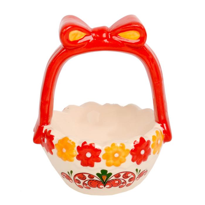 Ваза Home Queen Народные промыслы, высота 11,5 см66674Ваза Home Queen Народные промыслы станет оригинальным украшением праздничного стола на Пасху. Изделие изготовлено из высококачественной керамики. Ваза выполнена в виде корзинки с бантом и украшена цветами. Ее можно использовать для подачи пасхальных яиц или небольших сладостей.Такая подставка станет красивым пасхальным подарком для друзей или близких.