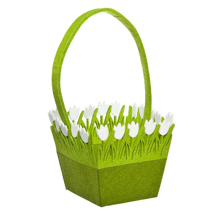Корзинка Home Queen Цветочная поляна, цвет: зеленый, 16 х 16 х 14 см корзина декоративная home queen ромашки цвет желтый 16 х 16 х 8 см