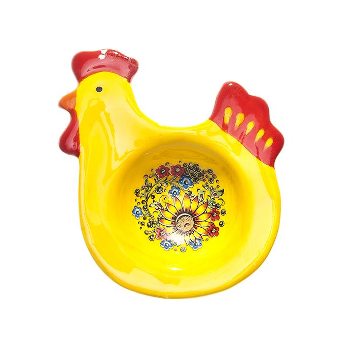 Подставка под яйцо Home Queen Узорная, цвет: желтый, красный мочалка из нейлона home queen цвет желтый 57199