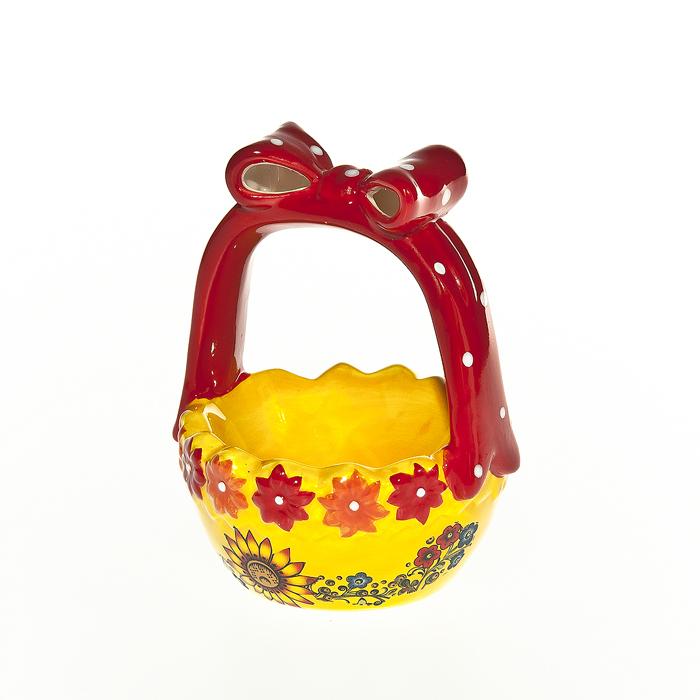 Корзинка под яйцо Home Queen Русские узоры, цвет: желтый, красный мочалка из нейлона home queen цвет желтый 57199