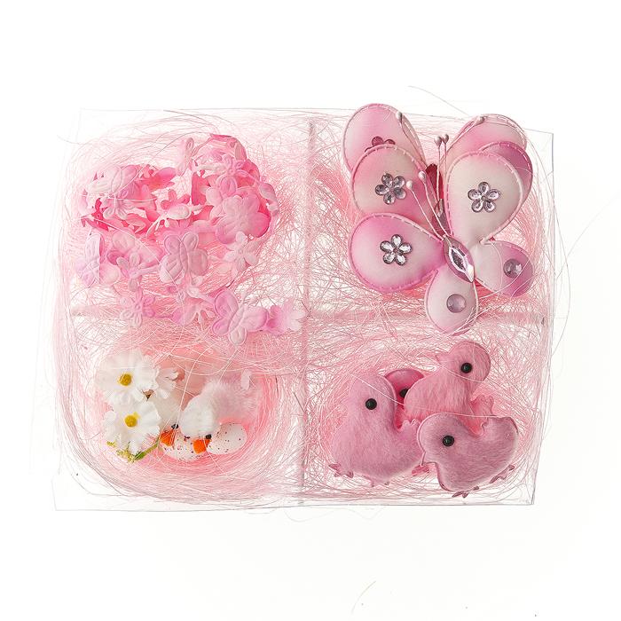 Набор декоративных украшений Home Queen, цвет: розовый, 10 предметов64485_3Набор Home Queen состоит из 10 декоративных украшений: 4 цыплят, 3 бабочек, 2 утят в гнезде и гирлянды. Изделия изготовлены из пенопласта и полиэстера. Украшения помогут вам украсить дом, а также станут замечательным подарком для ваших близких.Размер цыпленка: 3,5 см х 4,5 см.Размер бабочки: 6,5 см х 5,5 см. Размер утенка: 2,5 см х 3,5 см. Длина гирлянды: 42 см.