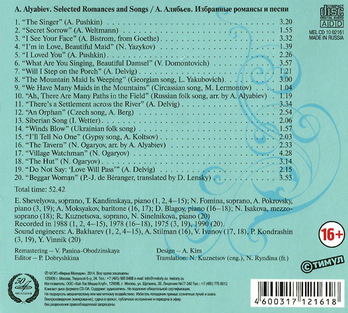 A.  Alyabiev.  Selected Romances And Songs Мелодия