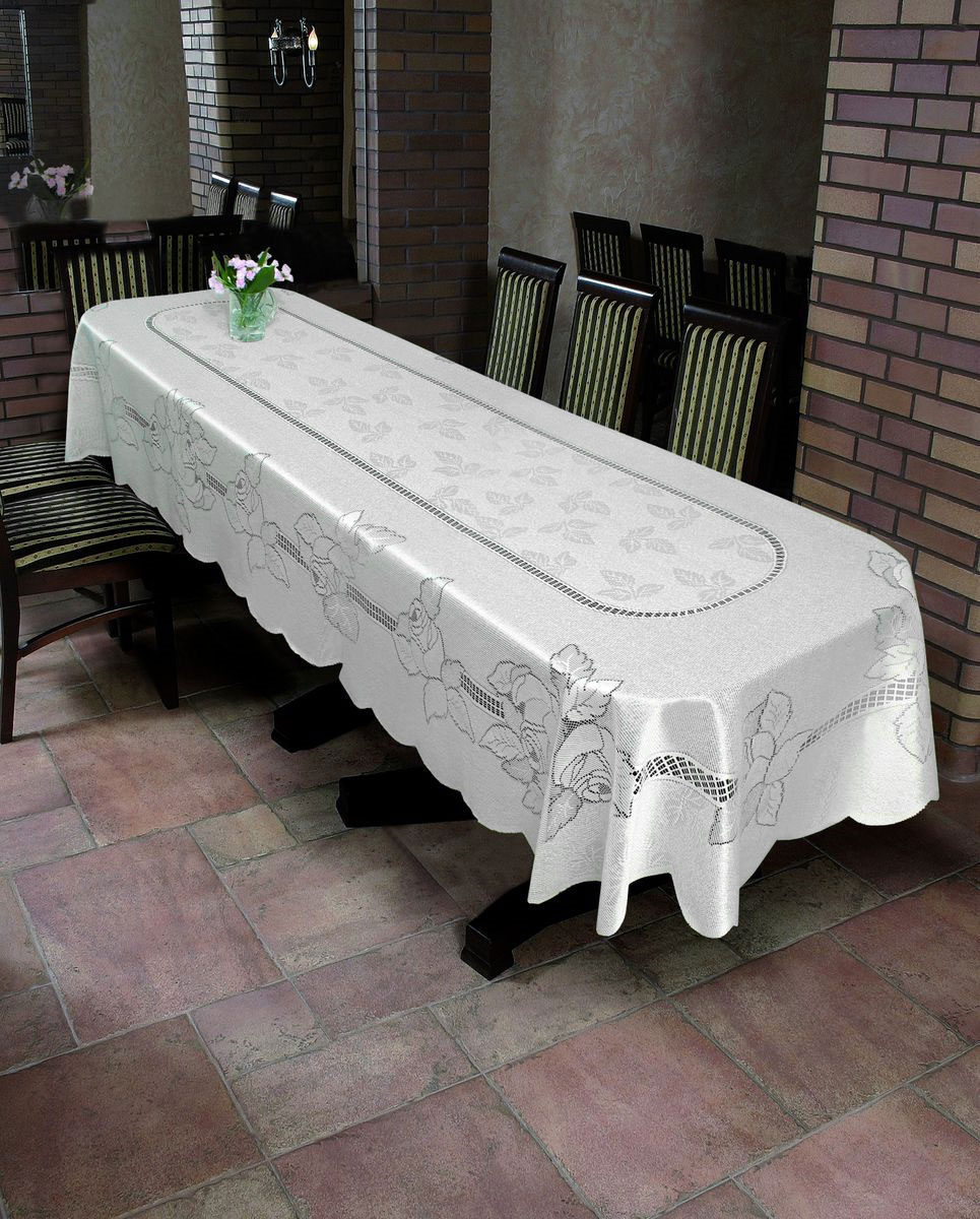 Скатерть Wisan Jeremiasz, овальная, цвет: белый, 130  x 180 см. 8497 скатерть wisan овальная цвет зеленый 130 х 180 см