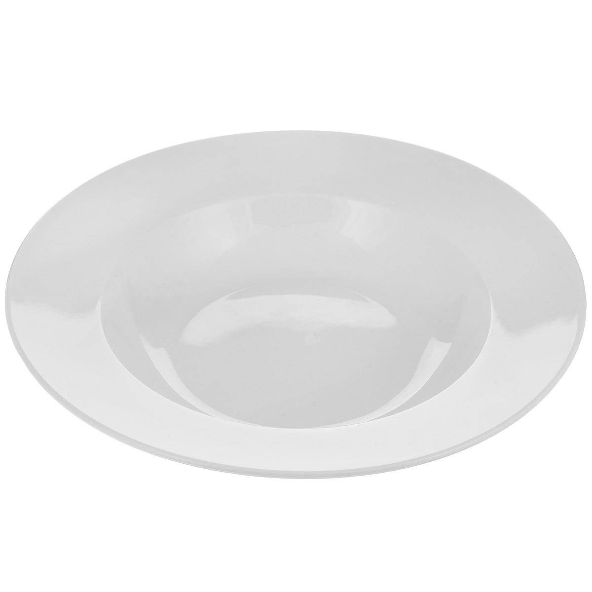 """Тарелка Tescoma """"Opus"""" выполнена из высококачественного фарфора однотонного цвета и прекрасно подойдет для вашей кухни. Такая тарелка изысканно украсит сервировку как обеденного, так и праздничного стола. Предназначена для подачи супов и других жидких блюд.  Пригодна для использования в микроволновой печи. Можно мыть в посудомоечной машине. Диаметр: 23,5 см. Высота тарелки: 4 см."""