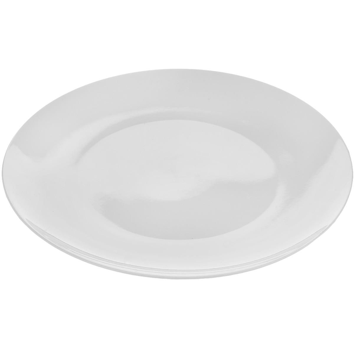 """Тарелка Tescoma """"Crema"""" выполнена из высококачественного фарфора однотонного цвета и прекрасно подойдет для вашей кухни. Такая тарелка изысканно украсит сервировку как обеденного, так и праздничного стола. Предназначена для подачи вторых блюд.  Пригодна для использования в микроволновой печи. Можно мыть в посудомоечной машине. Диаметр: 27 см. Высота тарелки: 2,5 см."""