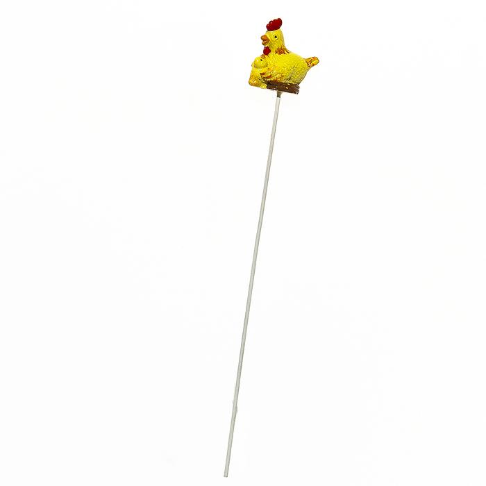 Декоративное пасхальное украшение на ножке Home Queen Курочка в гнезде, цвет: желтый, высота 22 см декоративное украшение home queen приветливый цыпленок цвет желтый 8 х 11 см
