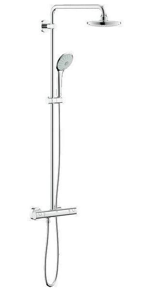 Система душевая Grohe Euphoria, с термостатом. 2729600127296001Душевая система Grohe Euphoria воплощает в себе стильную простоту и комфорт в использовании. Многофункциональная система состоит из верхнего душа, смесителя с термостатом и душа ручного. Верхний душ вмонтирован, выступающая часть удобно изогнута. Термостат позволяет автоматически поддержать заданную температуру воды, а также постоянного ее напора (расхода).Система удобна в работе, практична в использовании, позволяя разнообразить прием душевых процедур. Особенности:- Превосходный поток воды Grohe DreamSpray®;- Хромированная поверхность Grohe StarLight®;- Встроенный термоэлемент Grohe TurboStat® с системой SpeedClean против известковых отложений;- Внутренний охлаждающий канал для продолжительного срока службы;- Twistfree против перекручивания шланга;- Совместим с проточным водонагревателем от 18 kВ/ч;- Минимальное давление 1,0 бар.Диаметр ручного душа: 11 см. Диаметр верхнего душа: 18 см. Длина поворотного кронштейна: 45 см. Угол поворота кронштейна: ± 15°Высота шланга: 175 см.