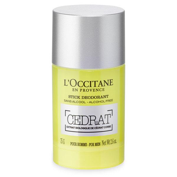 LOccitane Деодорант-стик Cedrat 75 г328989Круглый дезодорант-стик имеет идеальный размер и мягко скользит по коже, не оставляя белых следов. Он нейтрализует неприятные запахи, оставляя бодрящий аромат туалетной воды «Цедрат». Не содержит солей алюминия.