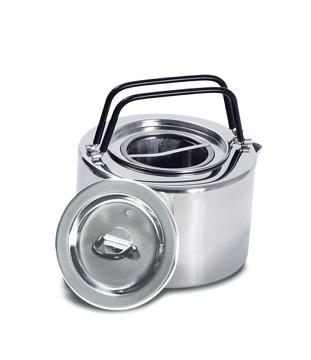 Чайник походный Tatonka Teapot, 1,5 л4016.000Чайник Tatonka Teapot из нержавеющей стали с термоизолированными ручками и компактным дизайном. Замечательно подходит для использования дома и на выезде. В комплекте ситечко из нержавеющей стали.Преимущества и особенности:Высококачественная нержавеющая сталь.Складные термоизолированные ручки.Крышка со складной термоизолированной ручкой.Компактный дизайн.Ситечко из нержавеющей стали.Диаметр чайника: 14,5 см.Высота чайника: 9 см.