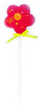 Декоративное пасхальное украшение на ножке Home Queen Цветок, цвет: малиновый, высота 26 см. 60727_1 декоративное украшение home queen приветливый цыпленок цвет желтый 8 х 11 см