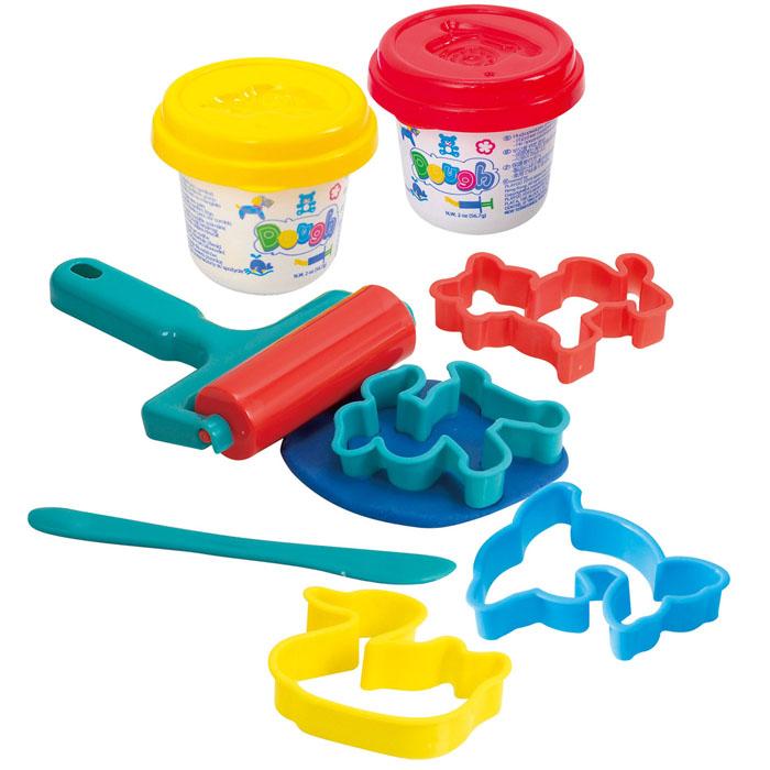 Playgo Набор для лепки Roll & CutPlay 8632Набор для лепки Playgo Roll & Cut представляет собой сочетание моделирования и игры. Набор включает в себя: 2 баночки массы для лепки по 56 г (желтый, красный), стек для моделирования, 4 формочки, валик. Входящая в набор пластилиновая масса разработана специально для детей, очень мягкая, приятно пахнет, ее не надо разминать перед лепкой.Пластилин быстро высыхает, не имеет запаха, не липнет к рукам и одежде, легко смывается, а так же легко смешивается, что позволяет получать новые цвета. На крышечках баночек имеются трафареты с помощью которых ваш ребенок сможет легко самостоятельно сделать фигурку. Стек выполнен из пластика и не имеет острых концов, что безопасно для вашего малыша. С его помощью он сможет легко и быстро разрезать массу. Формочки и валик помогут вашему ребенку создать фигурки различных животных. При помощи этого набора ваш ребенок сможет своими руками изготовить красивые поделки.Работа с пластилином развивает мелкую моторику пальцев малыша, пространственное воображение, фантазию.