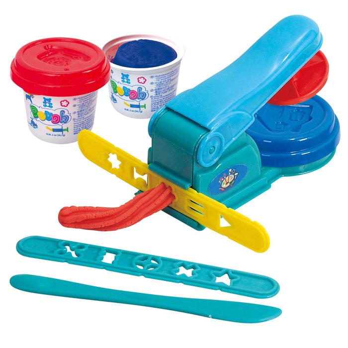 Playgo Набор для лепки Dough ExtruderPlay 8630Набор для лепки Playgo Dough Extruder представляет собой сочетание моделирования и игры. Набор включает в себя: 2 баночки массы для лепки по 56 г (синий, красный), стек для моделирования, пресс, 2 трафарета. Входящая в набор пластилиновая масса разработана специально для детей, очень мягкая, приятно пахнет, ее не надо разминать перед лепкой.Пластилин быстро высыхает, не имеет запаха, не липнет к рукам и одежде, легко смывается, а так же легко смешивается, что позволяет получать новые цвета. На крышечках баночек имеются трафареты с помощью которых ваш ребенок сможет легко самостоятельно сделать фигурку. Стек выполнен из пластика и не имеет острых концов, что безопасно для вашего малыша. С его помощью он сможет легко и быстро разрезать массу. Пресс и трафареты помогут вашему малышу легко создать фигурки различных форм. При помощи этого набора ваш ребенок сможет своими руками изготовить красивые поделки.Работа с пластилином развивает мелкую моторику пальцев малыша, пространственное воображение, фантазию.