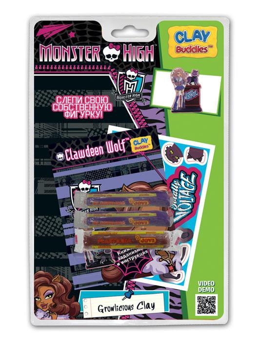 Giromax Набор для лепки Monster High. Clawdeen WolfG 307625Набор для лепки Giromax Monster High представляет собой сочетание моделирования и игры. Набор включает в себя: 3 плитки пластилина (черный, кирпичный), карточку с картонными деталями, 1 лист липучек, иллюстрированную книжку с инструкциями и заданиями. Входящая в набор пластилиновая масса разработана специально для детей, очень мягкая, приятно пахнет, ее не надо разминать перед лепкой.Пластилин быстро высыхает, не имеет запаха, не липнет к рукам и одежде, легко смывается.Используя пластилин и картонные формочки, малыш сможет самостоятельно вылепить фигурку любимой героини - Клодин Вульф. Работа с пластилином развивает мелкую моторику пальцев малыша, пространственное воображение, фантазию.
