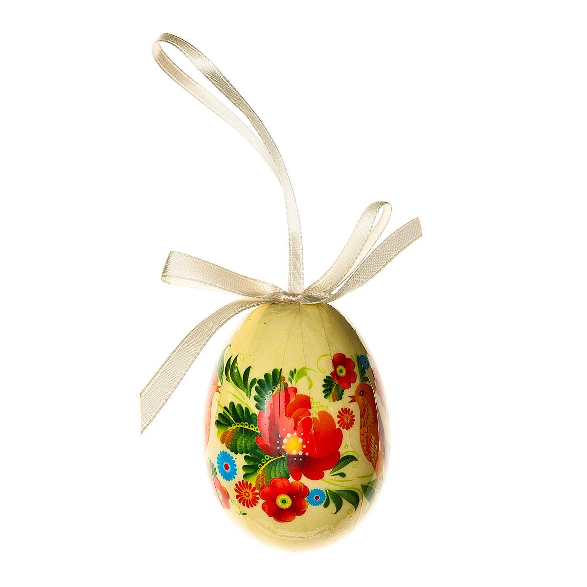 Декоративное подвесное украшение Home Queen Народная роспись, цвет: бежевый68283_3Подвесное украшение Home Queen Народная роспись, выполненное в форме яйца, изготовлено из пластика и декорировано изображением птицы и цветочным орнаментом. Изделие оснащено петелькой для подвешивания.Такое украшение прекрасно оформит интерьер дома или станет замечательным подарком для друзей и близких на Пасху. Размер яйца: 4 см х 4 см х 6 см.