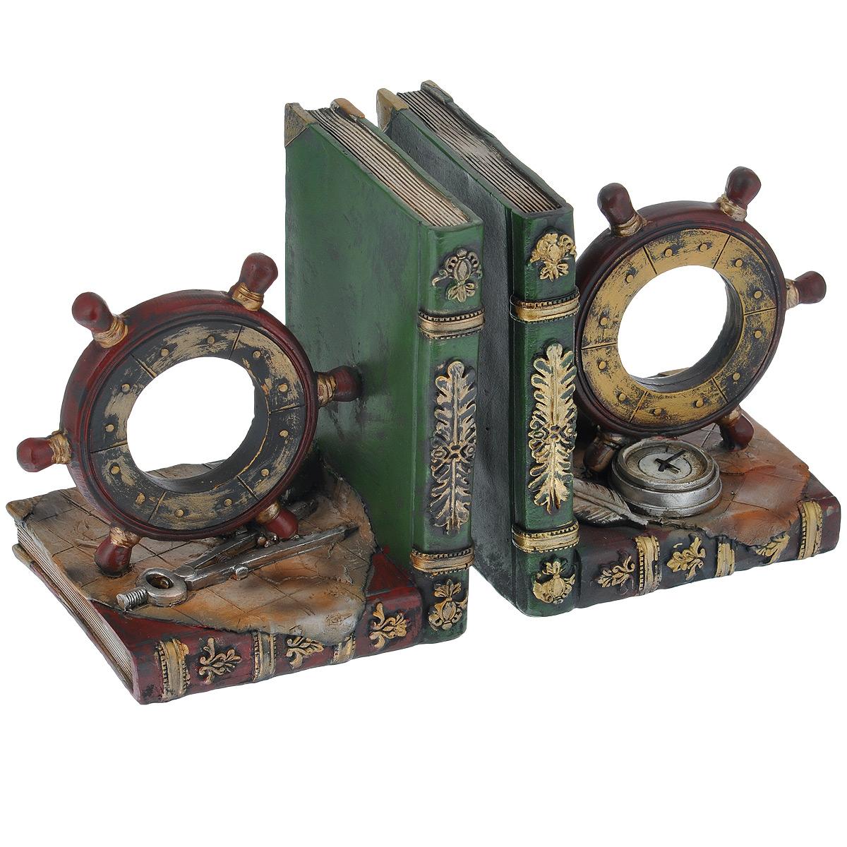 Декоративная подставка-ограничитель для книг Феникс-презент Штурвал, 2 шт36126Подставка-ограничитель для книг Штурвал, изготовленная из полирезины, состоит из двух частей, с помощью которых можно подпирать книги с двух сторон. Изделия выполнены в виде штурвалов с книгами. Между ограничителями можно поместить неограниченное количество книг. Подставка-ограничитель для книг Штурвал - это не только подставка для книг, но и интересный элемент декора, который ярко дополнит интерьер помещения. Размер одной части подставки-ограничителя: 13 см х 11 см х 15,5 см.Комплектация: 2 шт.