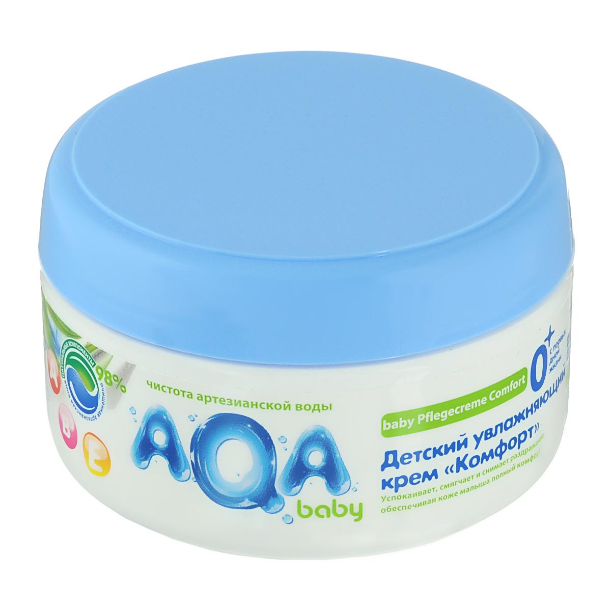AQA baby Детский увлажняющий крем «Комфорт»2012102Успокаивает, смягчает и снимает раздражение, обеспечивая коже малыша полный комфорт.С натуральным маслом подсолнечника и витаминами А,Е. и В598% натуральных компонентов. Применение крема доставляет истинное наслаждение и комфортное ощущение нежной коже: комбинация натурального масла подсолнечника и витаминов А, Е и В5 обеспечивает уход за чувствительной кожей ребенка, успокаивает, смягчает и снимает раздражение. Отсутствие в креме аллергенов и красителей позволяет использовать его для чувствительной кожи ребенка с самого раннего возраста.