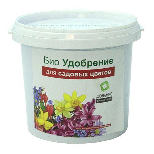 Био удобрение для садовых цветов Дюнамис, 1 л0409-сБио удобрение Дюнамис - экологически чистый и безопасный продукт. Удобрение высокой концентрации, предназначено для садовых цветов.Добавляется при посадке от 3 до 7% к объему грунта. Вещества в хелатной форме - быстро усваивается.Свойства:- увеличение интенсивности окраски, - повышение сопротивляемости заболеваниям,- улучшение приживаемости рассады и луковиц,- обильное и длительное цветение, повышение силы растений,- эффективная помощь при дефиците питания и влаги.Состав: ферментированный навоз КРС, помет, биокатализатор.