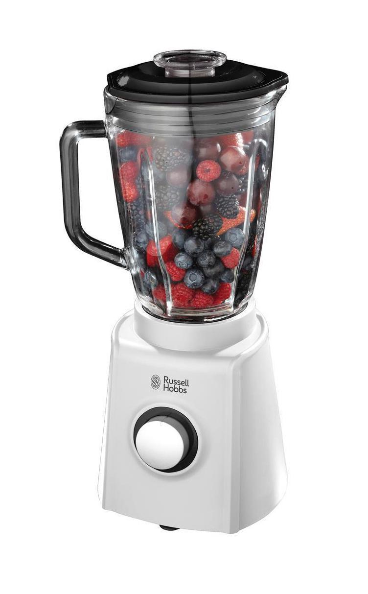 Russell Hobbs 18995-56 блендер18995-56Стационарный блендер Aura незаменим для приготовления множетсва блюд, будь то смузи и густые смеси, овощи для крем-супа или приготовления фруктового и овощного пюре для детского питания. В комплекте дополнительно содержится мини-мельничка, которая поможет измельчить кофейные зерна, орехи или специи.Стационарный блендер Aura имеет 2 скорости и режим пульс, ножи из нержавеющей стали с зубчатыми краями, что гарантирует быстрое и качественное смешивание до желаемой консистенции. Чаша имеет съемную крышку, которая позволяет добавлять продукт во время работы блендера. Емкость чаши составляет 1.5 литра, что прекрасно подойдет для ситуаций, когда необходимо приготовить большую порцию продукта.Благодаря стильному дизайну в современном белом цвете, стационарный блендер Aura займет достойное место на вашей кухне.