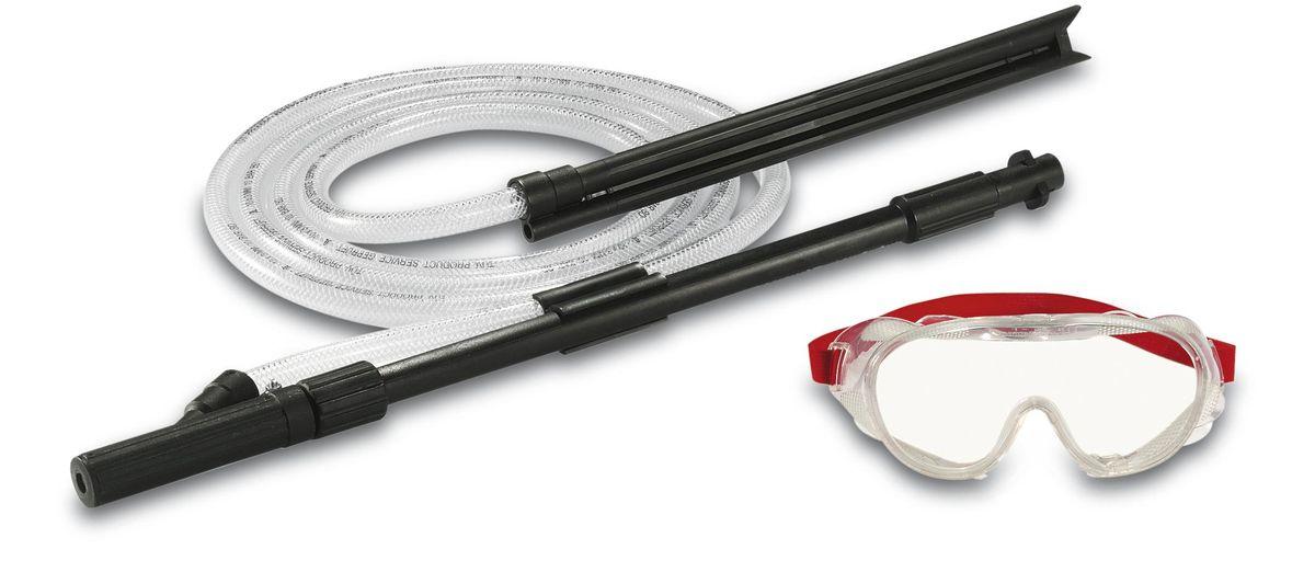 Комплект Karcher для струйной абразивной очистки, 3 предмета 2.638-792.02.638-792.0Комплект Karcherидеально подходит для мокрой пескоструйной очистки, легко удаляет ржавчину, старую краску и стойкие загрязнения с использованием абразивного средства Karcher. Предназначен для бытовых аппаратов высокого давления Karcher К2-К7.В комплект входит:защитные пластиковые очки,шланг с всасывающим наконечником, длина: 3 м,трубка для распыления, длина: 56 см.