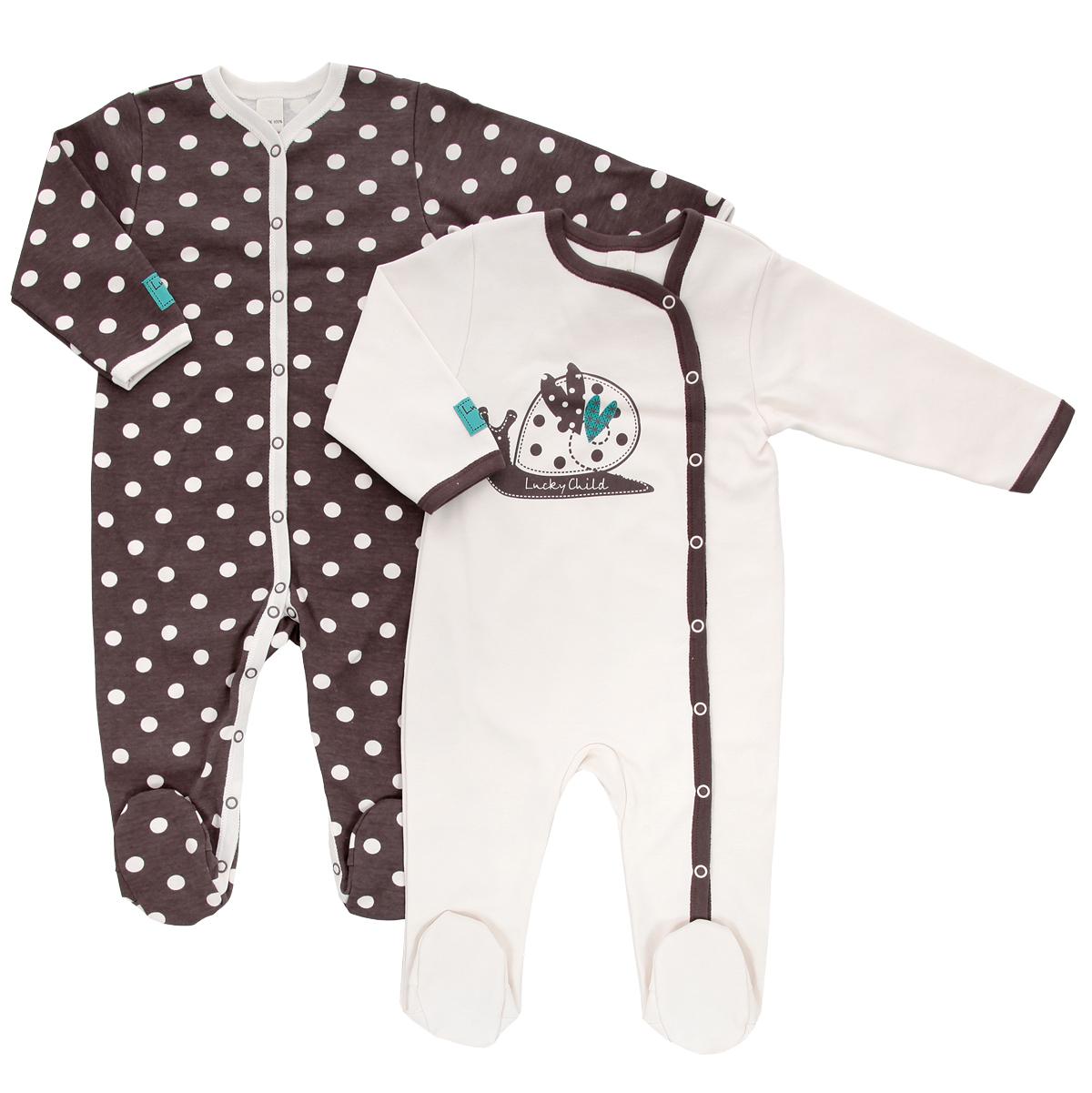 Комбинезон детский Lucky Child Улитки, цвет: светло-бежевый, коричневый, 2 шт. 30-131. Размер 74/80