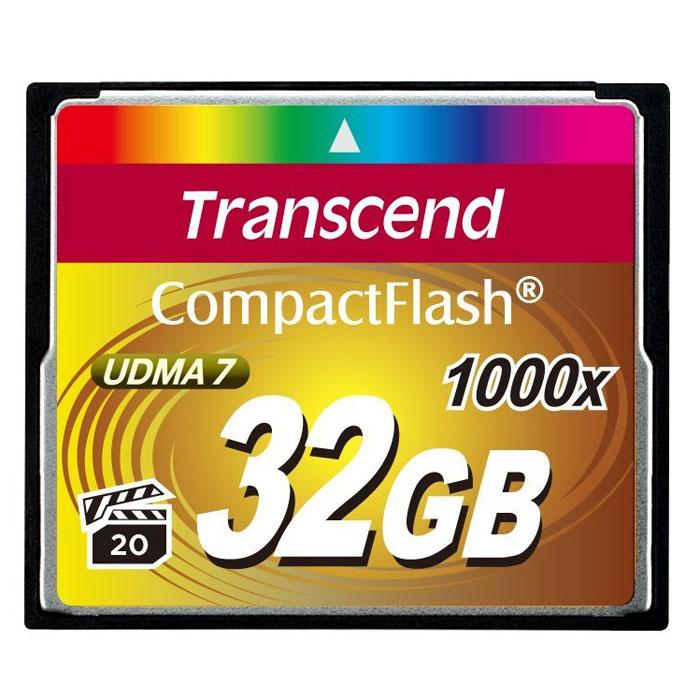 Transcend Compact Flash 1000X 32GB карта памяти (TS32GCF1000)TS32GCF1000Карты памяти 1066x CompactFlash компании Transcend поддерживают спецификацию CompactFlash 6.0, что позволит получать высококачественные снимки и вести запись видео с использованием самого современного оборудования. Новые карты обладают невероятным быстродействием и большим объёмом памяти. Кроме того, CompactFlash поддерживает стандарт Video Performance Guarantee (VPG-20), который гарантирует запись видео в профессиональном качестве, в том числе и в 3D, без выпадения кадров.