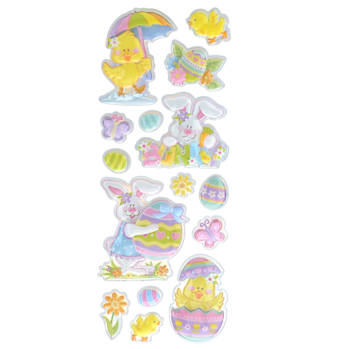Набор объемных наклеек Home Queen Цыпленок под зонтом, 15 шт60882_5Набор объемных наклеек Home Queen Цыпленок под зонтом прекрасно подойдет для оформления творческих работ. Их можно использовать для скрапбукинга, украшения упаковок, подарков и конвертов, открыток, декорирования коллажей, фотографий, изделий ручной работы и предметов интерьера. Объемные наклейки выполнены из ПВХ. Задняя сторона клейкая. В наборе - 15 объемных наклеек, выполненных в виде пасхального кролика, цыпленка, яиц, бабочек и цветов. Такой набор украшений создаст атмосферу праздника в вашем доме. Комплектация: 15 шт.Средний размер наклейки: 5 см х 6 см.