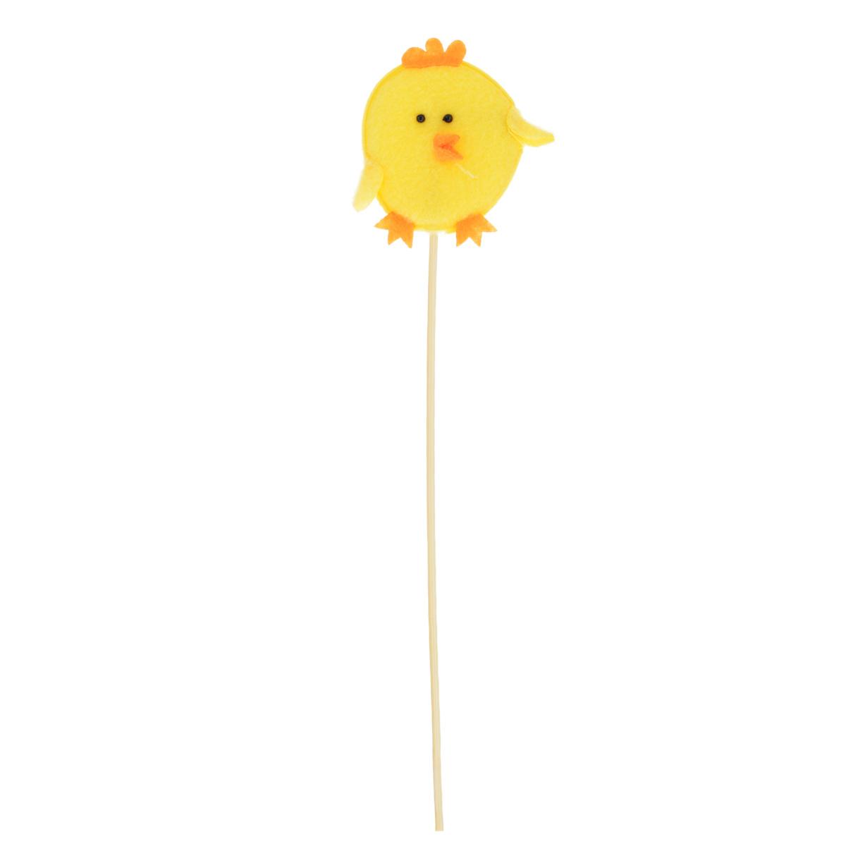 Декоративное пасхальное украшение на ножке Home Queen Цыпленок, высота 26,5 см декоративное украшение home queen яйцо на подставке цвет малиновый