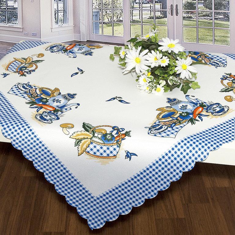 Скатерть Schaefer, квадратная, цвет: белый, синий, 80x 80 см. 07382-10707382-107Скатерть Schaefer выполнена из высококачественного полиэстера и оформлена напечатанным рисунком, по краю сделана вырезка - фестоны. Изделия из полиэстера легко стирать: они не мнутся, не садятся и быстро сохнут, они более долговечны, чем изделия из натуральных волокон. Скатерть Schaefer не останется без внимания ваших гостей, а вас будет ежедневно радовать ярким дизайном и несравненным качеством.Немецкая компания Schaefer создана в 1921 году. На протяжении всего времени существования она создает уникальные коллекции домашнего текстиля для гостиных, спален, кухонь и ванных комнат. Дизайнерские идеи немецких художников компании Schaefer воплощаются в текстильных изделиях, которые сделают ваш дом красивее и уютнее и не останутся незамеченными вашими гостями. Дарите себе и близким красоту каждый день! Изысканный текстиль от немецкой компании Schaefer - это красота, стиль и уют в вашем доме.