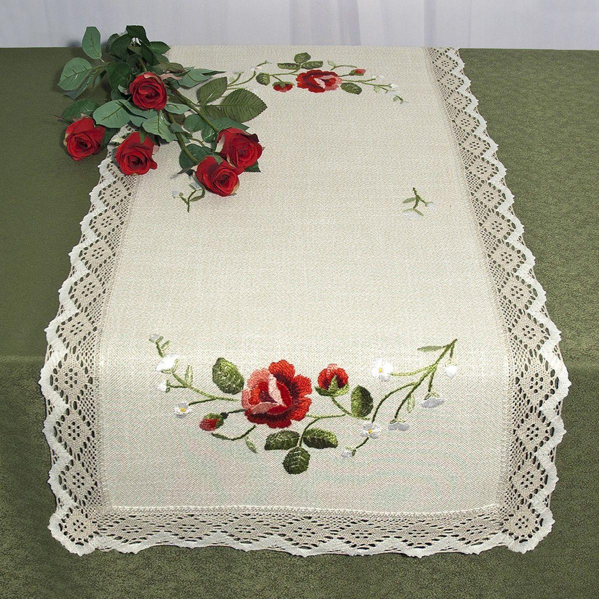 Дорожка для декорирования стола Schaefer, прямоугольная, цвет: бежевый, красный, 50 x 100 см 6400/3906400/390 -50*100Прямоугольная дорожка Schaefer изготовлена из высококачественного полиэстера и оформлена по краю отделочной тесьмой. Фактура ткани выполнена под натуральный лен, вышивка ручная. Вы можете использовать дорожку для декорирования стола, комода или журнального столика.Благодаря такой дорожке вы защитите поверхность мебели от воды, пятен и механических воздействий, а также создадите атмосферу уюта и домашнего тепла в интерьере вашей квартиры. Изделия из искусственных волокон легко стирать: они не мнутся, не садятся и быстро сохнут, они более долговечны, чем изделия из натуральных волокон. Изысканный текстиль от немецкой компании Schaefer - это красота, стиль и уют в вашем доме. Дорожка органично впишется в интерьер любого помещения, а оригинальный дизайн удовлетворит даже самый изысканный вкус. Дарите себе и близким красоту каждый день!