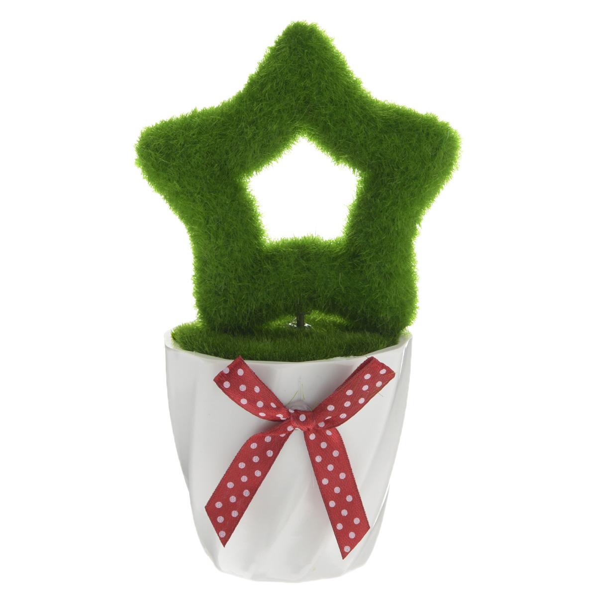Декоративное украшение Феникс-презент Звезда, высота 15 см37560Декоративное украшение Феникс-презент Звезда, изготовленное из ПВХ и пенопласта дополнит интерьер любого помещения, а также может стать оригинальным подарком для ваших друзей и близких. Композиция выполнена в виде деревца с кроной в форме звезды. Деревце располагается в небольшом горшочке. Оформление помещения декоративным деревом создаст праздничную, по-настоящему радостную и теплую атмосферу в доме.Размер кроны дерева: 8 см х 8 см х 2 см.