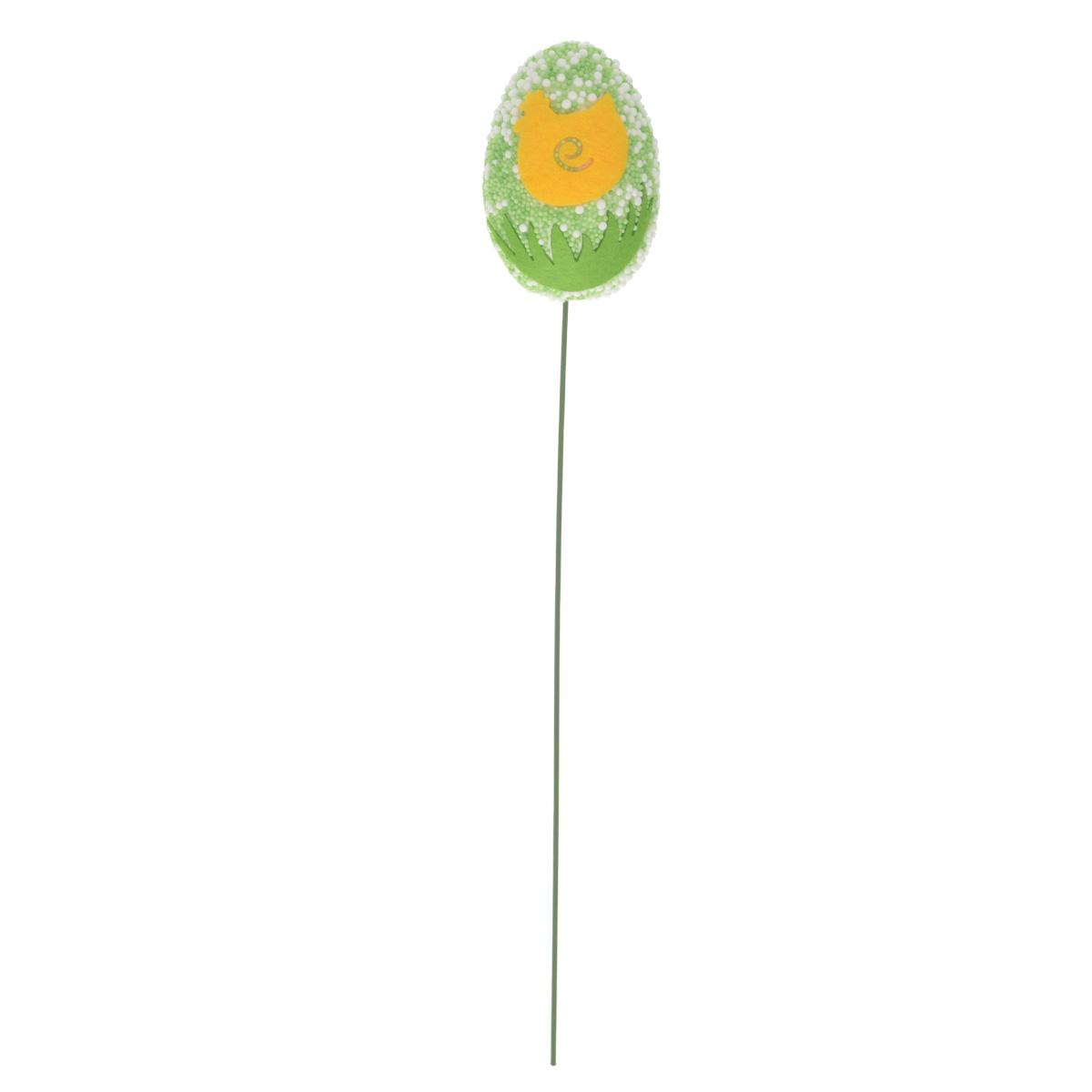 Декоративное пасхальное украшение на ножке Home Queen Яркость, цвет: зеленый, высота 24 см66794_3Украшение пасхальное Home Queen Яркость изготовлено из высококачественного пенопласта и предназначено для украшения праздничного стола. Украшение выполнено в виде яйца на металлической шпажке и украшено рисунком в виде курочки. Такое украшение прекрасно дополнит подарок для друзей и близких на Пасху. Высота: 24 см. Размер фигурки: 4 см х 4 см х 5,7 см.